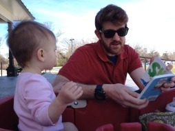 Reading with Skylar at the park.